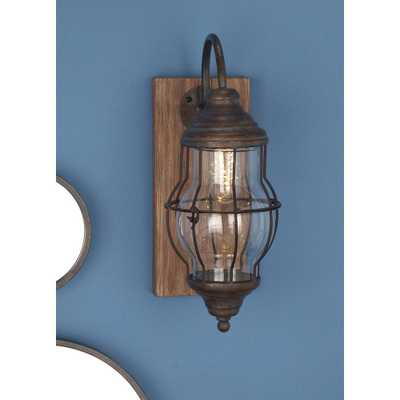 17 in. Brown Wood and Iron LED Wall Sconce - Home Depot