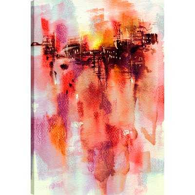 'Red Abstract' Watercolor Painting Print on Wrapped Canvas - Wayfair