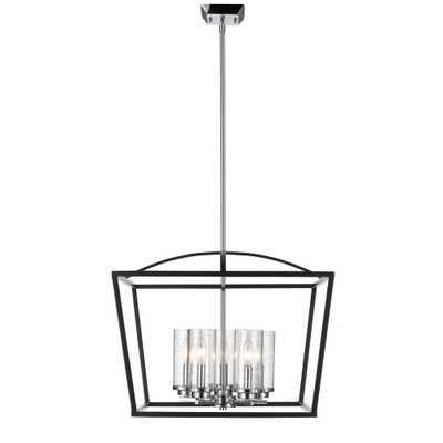 Golden Lighting Mercer 5-Light Black Chandelier with Seeded Glass Shade - Home Depot