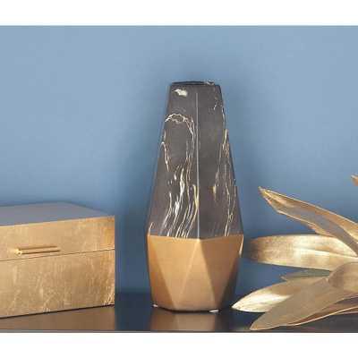 14 in. x 7 in. Ceramic Black and Gold Vase - Home Depot
