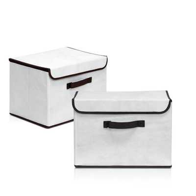 Non-Woven Fabric Beige Storage Bin with Lid (2-Pack) - Home Depot