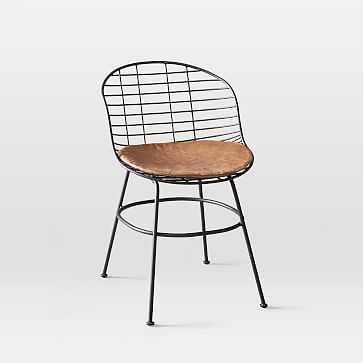Zeke Indoor/Outdoor Dining Chair, Sand, Taos Leather, Antique Bronze - West Elm