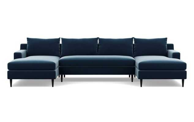 Sloan U-Sectional with Sapphire Fabric, Painted Black legs, and Bench Cushion - Interior Define