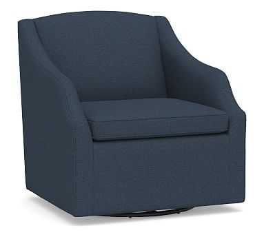 SoMa Emma Upholstered Swivel Armchair, Polyester Wrapped Cushions, Brushed Crossweave Navy - Pottery Barn