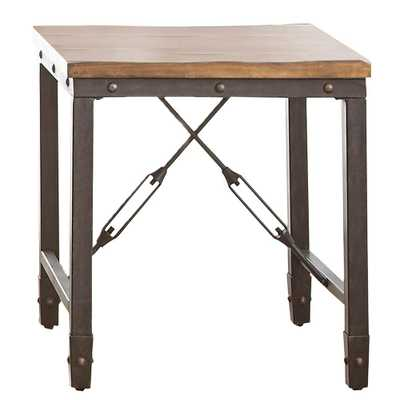 Steve Silver Company Ashford Antique Honey Pine and Iron Industrial End Table - Home Depot