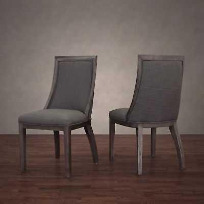 Stones & Stripes Park Avenue Smoke Linen Dining Chair (Set of 2) - eBay