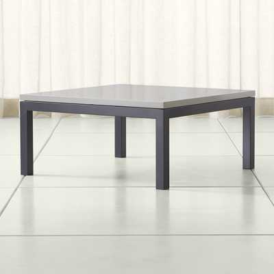 Parsons Grey Solid Surface Top/ Dark Steel Base 36x36 Square Coffee Table - Crate and Barrel
