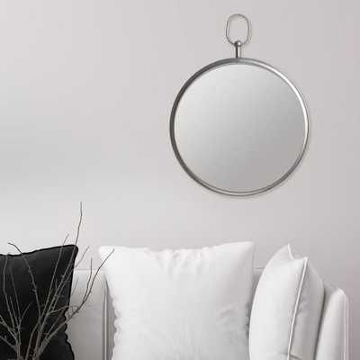 Pinnacle Handle Round Silver Decorative Wall Mirror - Home Depot