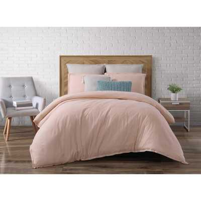 Chambray Loft Blush Full/Queen Comforter with 2-Shams - Home Depot