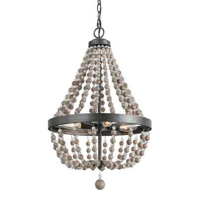 LNC 4-Light Black 16 in. Wood Bead Empire Bohemian Lighting Chandelier - Home Depot