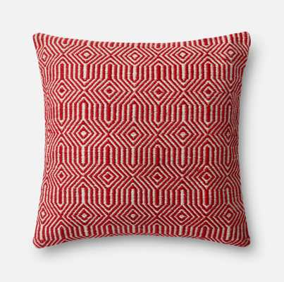 "PILLOWS - RED / IVORY - 22"" X 22"" Cover Only - Loma Threads"