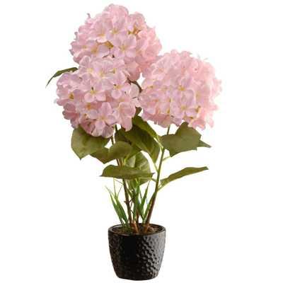 20 in. White Hydrangea Flower, Pink - Home Depot