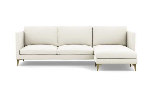 Oliver Sectionals with Ivory Fabric with right facing chaise and Brass Plated legs - Interior Define