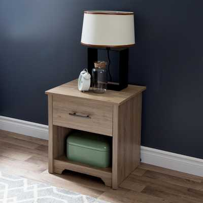 Fusion 1-Drawer Rustic Oak Nightstand - Home Depot