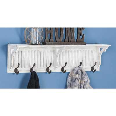 36 in. x 10 in. White and Black Iron Shelf Wall Hook - Home Depot
