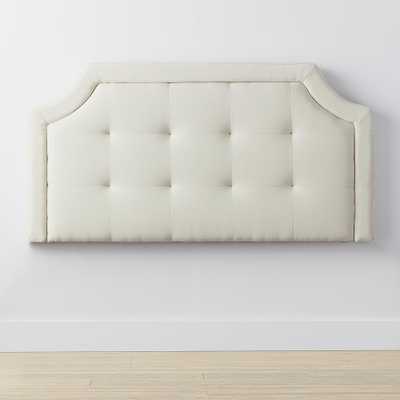 Upholstered Scoop-Edge Cream (Ivory) Full Headboard with Square Tufting - Home Depot