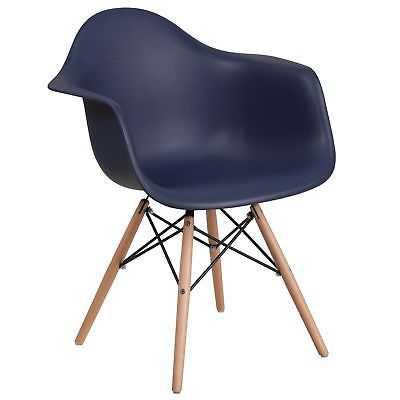 Modern Mid-Century Designed Navy Arm Chair with Artistic Wood Legs: Single - eBay