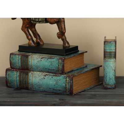 Decorative Book Boxes (Set of 3), Distressed Blue - Home Depot