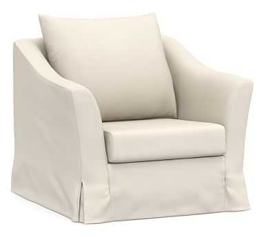 SoMa Brady Slope Arm Slipcovered Armchair, Polyester Wrapped Cushions, Twill Cream - Pottery Barn