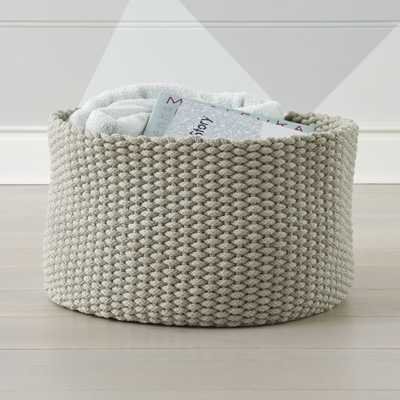 Kneatly Knit Large Khaki Rope Bin - Crate and Barrel