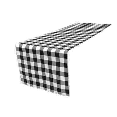 14 in. x 108 in. White and Black Polyester Gingham Checkered Table Runner, White/Black - Home Depot