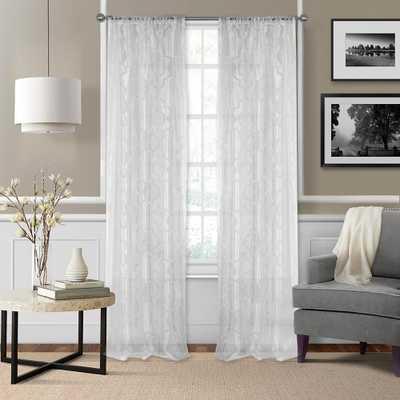 Elrene Montego 52 in. W x 95 in. L Ironwork Sheer Window Curtain White - Home Depot