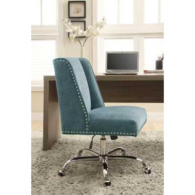 Draper Aqua Polyester Office Chair, Blue - Home Depot