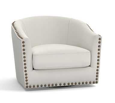 Harlow Upholstered Swivel Armchair with Bronze Nailheads, Polyester Wrapped Cushions, Washed Linen/Cotton Ivory - Pottery Barn