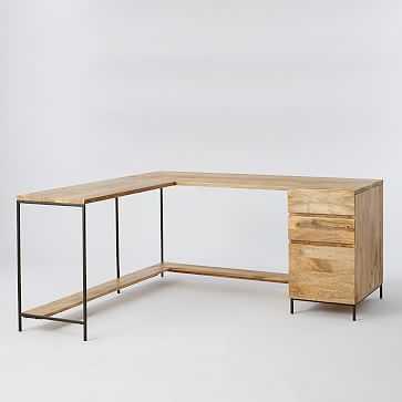 Industrial Storage Modular Desk Set- Desk Top + Box File + Return with Shelf - West Elm