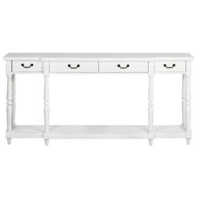 Mitchell Rubbed White Storage Console Table - Home Depot
