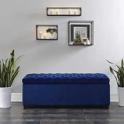 Alcott Hill Mabel Shoe Upholstered Storage Bench: Navy Blue - eBay