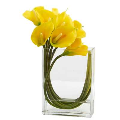 12 in. High Yellow Calla Lily in Rectangular Glass Vase Artificial Arrangement - Home Depot