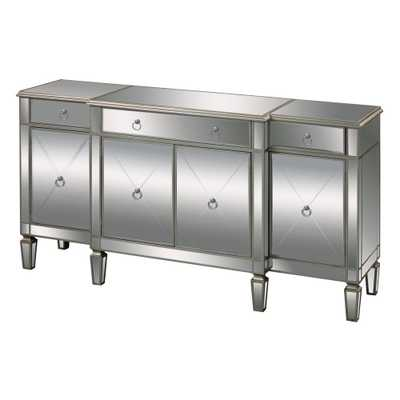 Bodrum Champagne Silver Mirrored Console Table, Clear Mirror/Champagne Silver Leaf - Home Depot