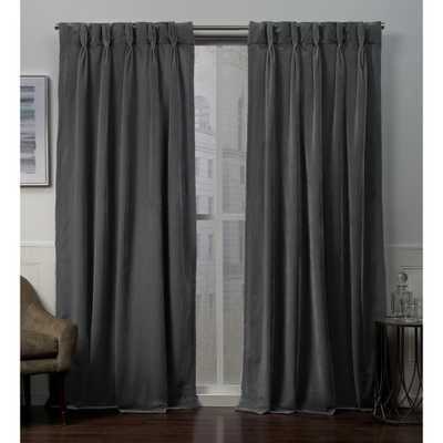 Exclusive Home Curtains Velvet Heavyweight Pinch Pleat Top Curtain Panel Pair in Soft Grey - 27 in. W x 96 in. L (2-Panel) - Home Depot