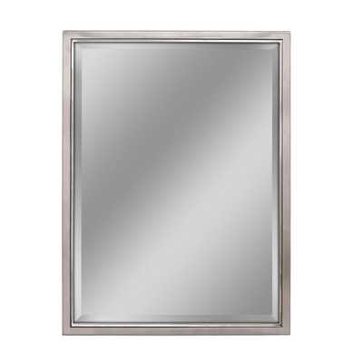 Deco Mirror 30 in. W x 40 in. H Classic Metal Framed Wall Mirror in Brush Nickel / Chrome, Brush Nickel With Chrome Inner Lip - Home Depot