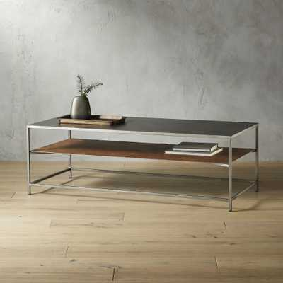 Mill Large Leather Coffee Table - CB2