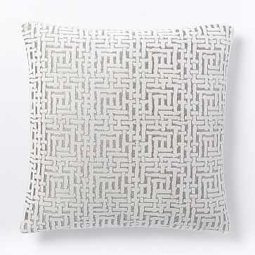 "Allover Crosshatch Jacquard Velvet Pillow Cover, 20""x20"", Stone White - West Elm"