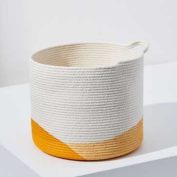 Closed Mondays Woven Bucket Basket, Large, Yellow/Marigold - West Elm