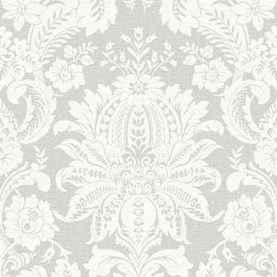 Empress Venetian Damask Gray Removable Wallpaper, Grey - Home Depot