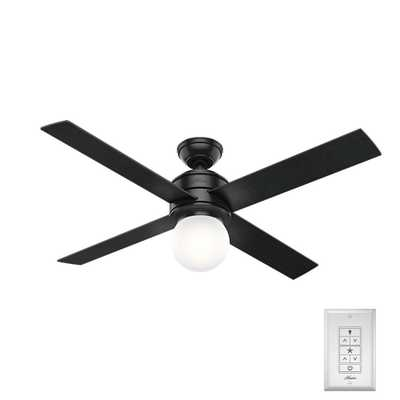 Hunter Hepburn 52 in. LED Indoor Matte Black Ceiling Fan - Home Depot