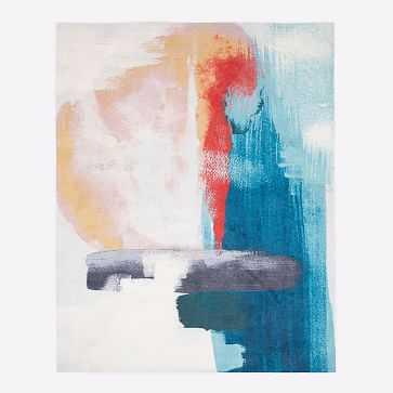 Brushed Palette Rug, Blue Teal, 9'x12' - West Elm