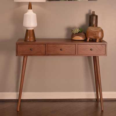 Mid Century Walnut (Brown) 3-Drawer Console Table - Home Depot