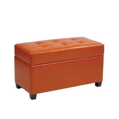 Orange Storage Ottoman - Home Depot