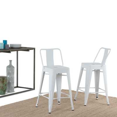 Rayne 24 in. White Metal Counter Height Stool (Set of 2) - Home Depot
