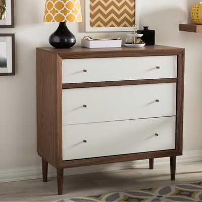 Harlow 3-Drawer White and Medium Brown Wood Chest - Home Depot