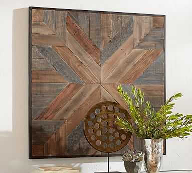 "Planked Quilt Square Wall Art, 48 x 48"" - Pottery Barn"