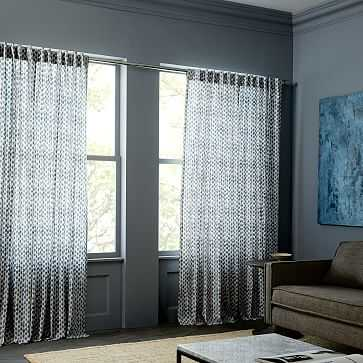 "Cotton Canvas Stamped Dots Curtain, Set of 2, Shimmer, 48""x96"" - West Elm"