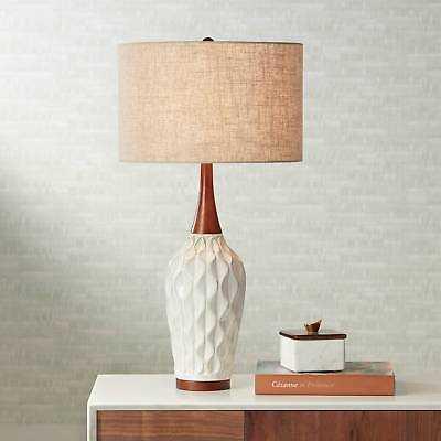 Mid Century Modern Table Lamp Ceramic Wood White for Living Room Bedroom - eBay
