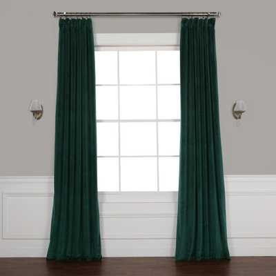 Exclusive Fabrics & Furnishings Forestry Green Heritage Plush Velvet Curtain (Single Panel) - Home Depot