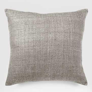 """Silk Handloomed Pillow Cover, 20""""Sq., Platinum - West Elm"""